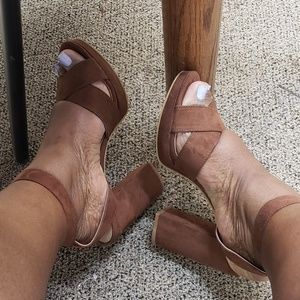 Brown suade strappy heels